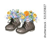 little old fashioned shoes with ... | Shutterstock . vector #521525827