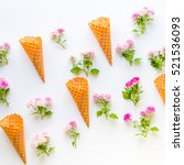 ice cream waffle cones and...   Shutterstock . vector #521536093