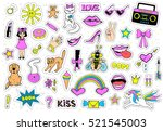 huge set of patch badges with... | Shutterstock .eps vector #521545003