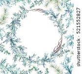 watercolor winter floral card.... | Shutterstock . vector #521552827