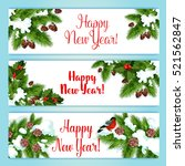 new year banner set. holly... | Shutterstock .eps vector #521562847