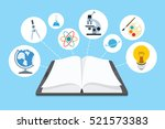 ebook and icons with blue... | Shutterstock .eps vector #521573383