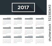 calendar 2017 for a year ... | Shutterstock .eps vector #521583643