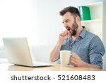 young businessman yawning and... | Shutterstock . vector #521608483