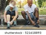 senior group friends exercise... | Shutterstock . vector #521618893