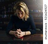 woman sitting church religion... | Shutterstock . vector #521624527
