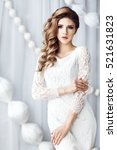 beautiful young woman in white... | Shutterstock . vector #521631823
