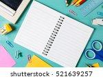 school supplies on a wood... | Shutterstock . vector #521639257