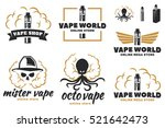 set of vape  e cigarette logo ... | Shutterstock .eps vector #521642473