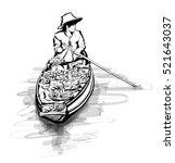 boat in a floating market in... | Shutterstock .eps vector #521643037