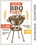 barbecue party poster for... | Shutterstock .eps vector #521647603