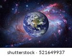 Earth And Galaxy On Background...