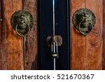 Old Wooden Door With  Ancient...