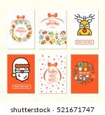 christmas background set with... | Shutterstock .eps vector #521671747