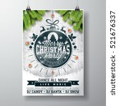 vector merry christmas party... | Shutterstock .eps vector #521676337