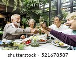 group of senior retirement meet ... | Shutterstock . vector #521678587