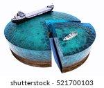 Model Tanker And Yachts At Sea...