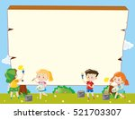 border template with kids... | Shutterstock .eps vector #521703307