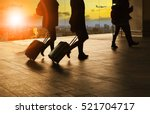 people and traveling luggage... | Shutterstock . vector #521704717