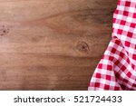 Red Tablecloth On Wooden...