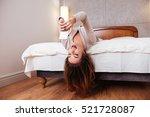 happy smiling woman lying...   Shutterstock . vector #521728087
