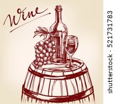 collection wine hand drawn... | Shutterstock .eps vector #521731783