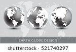 earth globe design.vector globe ... | Shutterstock .eps vector #521740297