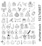 set of christmas doodles | Shutterstock .eps vector #521765857