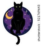 Black Green Eyed Cat Sitting O...