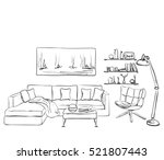 modern interior room sketch. s | Shutterstock .eps vector #521807443
