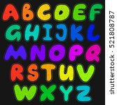 alphabet cartoon sticker style... | Shutterstock .eps vector #521808787