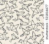 seamless paper bird origami... | Shutterstock .eps vector #521816677