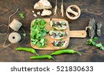 top view rustic table with...   Shutterstock . vector #521830633