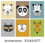 cartoon animal set vector  ... | Shutterstock .eps vector #521831077
