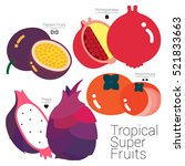 tropical super fruits four... | Shutterstock .eps vector #521833663