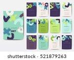 geometric 2017 year calendar in ... | Shutterstock .eps vector #521879263