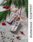 Small photo of Homemade food suet popsicles for wild birds. Christmas decorations. Selective focus.