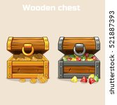 opened treasure chest with... | Shutterstock .eps vector #521887393