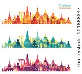 thailand detailed skyline.... | Shutterstock .eps vector #521888347