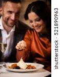 happy couple tasting delicious... | Shutterstock . vector #521890963