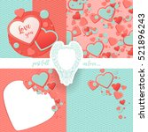 Pink, blue contrast set, scrapbook paper, hearts, waves, stylized waffle circle,border. Valentines Day Greeting card, invitation.Romantic Lovely Mothers Day template. Include seamless pattern