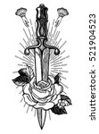 traditional tattoo flash rose... | Shutterstock .eps vector #521904523