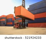 crane lifting up container in... | Shutterstock . vector #521924233