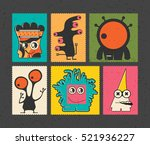 set of six retro postage s... | Shutterstock .eps vector #521936227
