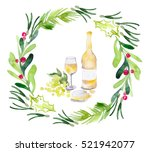 watercolor christmas... | Shutterstock . vector #521942077
