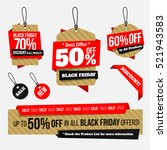 black friday sales tag origami... | Shutterstock .eps vector #521943583