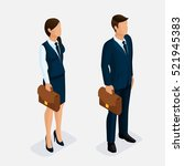 trendy isometric  woman and man ... | Shutterstock .eps vector #521945383