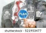businessman presses plan icon... | Shutterstock . vector #521953477