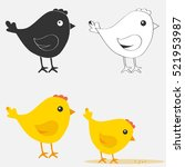 set chicken  chicken icon. flat ... | Shutterstock .eps vector #521953987