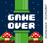 pixel game over interface with... | Shutterstock .eps vector #521962867